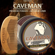 Handcrafted Caveman® Pomade (Hair) Original Hold Rockabilly 120ml + FREE Comb