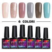 Modelones 6pcs Gel Nail Polish Soak Off UV LED Shellac Nail Polish-10ml
