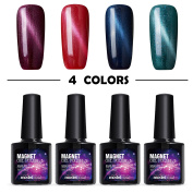 Modelones 4pcs UV LED Soak Off Magnet 3D Cat Eye Gel Nail Polish Set Chameleon Nail Varnish