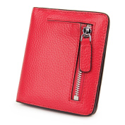 Women's RFID Blocking Compact Bi-fold Front Wallet with Zipper Pocket