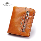Artemis'Iris Women Compact Wax Genuine Leather Pocket Wallet Bifold Clutch Money Change Cards Holder Organiser Short Purse