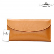 Artemis'Iris Women Lady Classic Genuine Leather Wallet Evelope Ultra Slim Money Cards Organiser Holder Clutch Long Purse