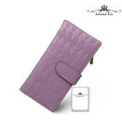 Artemis'Iris Womens Lattice Genuine Leather Wallet Elegant Zipper Clutch Cards Holder Organiser Long Purse