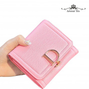 Artemis'Iris Women Compact Small D-Type Lock Wallet Elegant Genuine Leather Trifold Money Change Cards Holder Organiser Short Purse