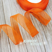 """FunnyPicker (50 Yards/Roll) 3/4""""(20Mm) Organza Ribbons Wholesale Gift Wrapping Decoration Christmas Ribbons Orange"""