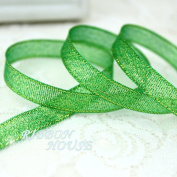 """FunnyPicker (25Yards/Roll) 3/8""""(10Mm) Metallic Glitter Ribbon Colourful Gift Package Ribbons Wholesale Green"""