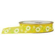 (2 Pack)Fowod Printed Floral Flower Ribbon DIY Party Decoration, 22 Yard / 20m, 1.9cm Wide, Yellow