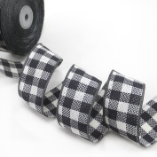 "25 Yards 1-1/2""(40mm) Wide DIY Fashion Plaid Grid Linen Ribbon For Festival/Wedding/Party/Birthday/Bridal Shower Decoration and DIY Handmande Accessories"