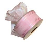 3.8cm Pink Sheer Organza Ribbon with Triple Satin Stripe DIY Hair Bows 10 Yards