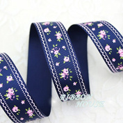 "FunnyPicker (5 Yards/Lot) 1"" (25Mm) Deep Blue Grosgrain Ribbon Printed Lovely Floral Series Ribbons"