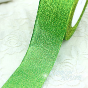 FunnyPicker (25 Yards/Roll) 40Mm Green Metallic Glitter Ribbon Colourful Gift Package Ribbons Wholesale