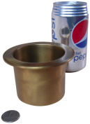 JWL (1) Solid Brass Water Holding Ikebana Cup 10cm Lip Tall Fits 7.6cm Hole Antique Brass Colour