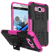 Galaxy J710 Case, Galaxy J7 2016 Case,ARSUE [Premium Rugged] Heavy Duty Armour [Shock Resistant] Dual Layer with Kickstand Case for Samsung Galaxy J7 2016/J710 - Hot pink