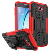 Galaxy On7 2016 Case,ARSUE [Premium Rugged] Heavy Duty Armour [Shock Resistant] Dual Layer with Kickstand Case for Samsung Galaxy On7 2016 / J7 Prime - Red