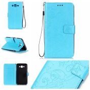 Galaxy J7 Case, ARSUE Premium Vintage Emboss Butterfly Flower PU Leather Wallet Case with Card Slots & Stand Flip Cover for Samsung Galaxy J7 2015 / J700 (Not Fit J710 2016) - Blue