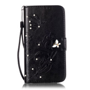 Galaxy J7 Case, ARSUE Premium Vintage Emboss Butterfly Flower PU Leather Wallet Case with Card Slots & Stand Flip Cover for Samsung Galaxy J7 2015 / J700 (Not Fit J710 2016) - Black/bling