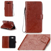 Galaxy J7 Case, ARSUE Premium Vintage Emboss Butterfly Flower PU Leather Wallet Case with Card Slots & Stand Flip Cover for Samsung Galaxy J7 2015 / J700 (Not Fit J710 2016) - Brown
