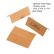 50 Piece ~ Kraft Paper Place Cards ~ Size