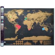 Scratch Off World Map, Luxurious Design Black with Golden Foil Coating, Large 32.5x23.5 inches / 83x60 cm, With Enhanced Travelling Information, Interactive Travel Poster, Deluxe Sturdy Tube Packaging