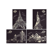 ARTJOY Scratch Post Card Set, Scratch Night View, Scratch Drawing Borad With Paper Album, Wood pencil(Set of 4)