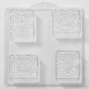 4 Cavity Floral Pattern In Square Soap/Bath Bomb Mould Mould M37 x 10