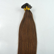 100 Strands Chocolate Brown 50 Grammes USA Nail Shape U Tip Fusion Hair Extensions 38cm Long