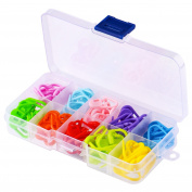 WXJ13 10 Colours Knitting Stitch Counter Stitch Markers Knitting locking stitch markers with clips, 120 Pieces