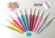 LiLiSew 12 Crochet Hook Set Case with 6.5, 7, 8mm Sizes Crochet Hooks, 20 Stich Markers.Best Gift. Ergonomic Comfort Soft Rubber Grip And Smooth Aluminium Needle Kit for Pain Free Crocheting.