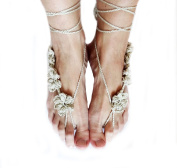 Ewandastore 2Pcs Summer Bridal Beach Wedding Foot Jewellery Gift Sexy Ankle Bracelet Crochet Barefoot Sandals for Women, New Nude Shoes