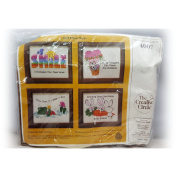 Vintage 1984 The Creative Circle Think Happy Set of 4Wall Art Frames Stitch Kit No. 4007