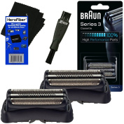 Braun 32B Replacement Foil Head Cassette, Black (2 pack) for Series 3 (new generation) + Double Ended Shaver Brush + HeroFiber Ultra Gentle Cleaning Cloth