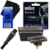 Braun 30B Replacement Head Foil & Cutter Set for Select Series 1, Series 3, SmartControl, TriControl (7000/4000 Series) Shavers + Double Ended Shaver Brush + HeroFiber Ultra Gentle Cleaning Cloth
