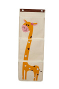 Wall Hanging Storage Organiser Giraffe Themed 3 Pocket Closet for Toddlers, Babies and Children, 1 Piece