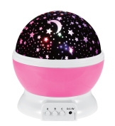 Aeroway Night Light Moon Star Projector 360 Degree Rotation - 4 LED Bulbs Light Lamp Starry Moon Sky Night Projector With USB Cable, Unique Gifts for Men Women Kids Best Baby Gifts Ever - Pink