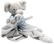 Petite Elephant Cuddle Buddy Plush Security Blanket 'Snoot' is 18cm Tall sitting up