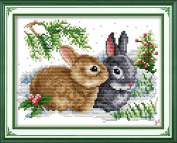 Benway Counted Cross Stitch Brown And Grey Rabbits 14 count 28cm X 23cm