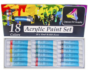 Artists Acrylic Paint Set - 18 Vibrant Colours - 12ml aluminium tubes | Professional Quality | Rich Pigments | for Beginners, Students and Professionals | by Deluxe Art Supply