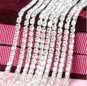 Honbay 10 Yard Crystal Rhinestone Close Chain Trim Sewing Craft 2.5mm Silver colour