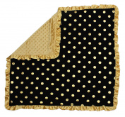 Dear Baby Gear Baby Blankets, Polka Dots Gold on Black, Gold Minky