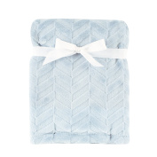 Hudson Baby Burnout Plush Blanket, Blue Chevron, 80cm x 100cm