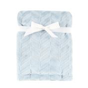 Hudson Baby Burnout Plush Blanket, Blue Chevron, 80cm x 100cm