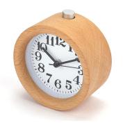 JaneDream Classic Round Silent Wood Alarm Clock Bedside Mute Table Snooze Alarm Clock with Nightlight