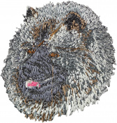 Keeshond, Embroidery, patch with the image of a dog