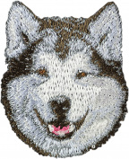 Alaskan Malamute, Embroidery, patch with the image of a dog