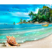Fipart DIY diamond painting cross stitch craft kit. Wall stickers for living room decoration.Beach