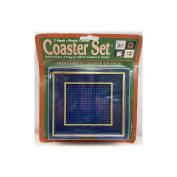 Vintage 1988 Needleform 7 Mesh Plastic Canvas Coaster Set - Blue