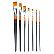 MEEDEN Flat Paint Brushes Set for Oil Acrylics Watercolour and Gouache Colour Painting , 7-Piece