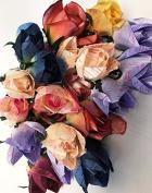 Cutequebebe 24 Heads Short Stem Roses 10cm - 1.3cm Flower Arrangement Artificial Wedding Home Garden Decor Assorted Colours