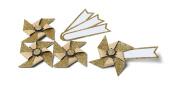 Mini Gold Glitter Pinwheel Name Places / Tags Set of 4 Wedding Gift Tags