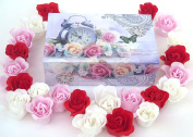 Easter Rose Bath Bomb, 15 Colourful Charing Rose Flowers in a Clock gift box.
